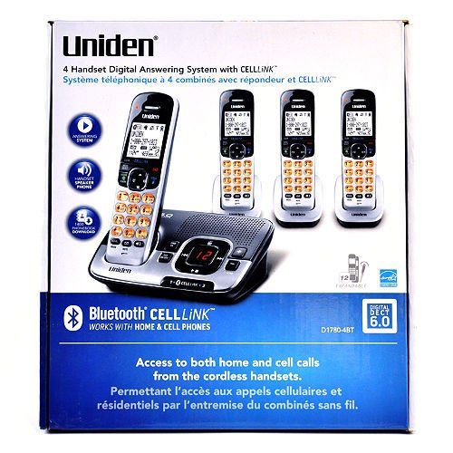 Uniden Bluetooth (Uniden D1780-4bt Dect 6.0 Cordless Phone System with 4 Hand Sets with Digital Answering System Cell-link Bluetooth-enabled)