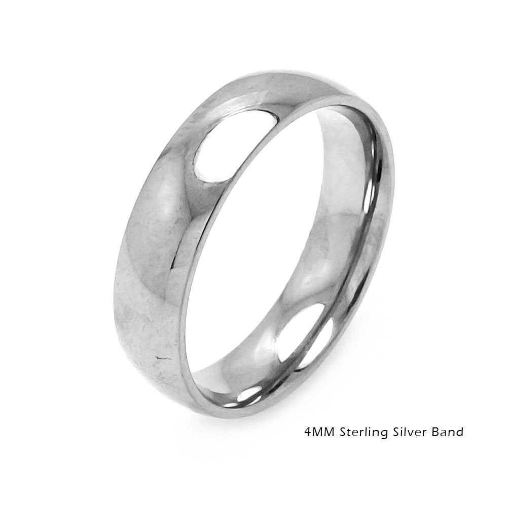 High Polished Sterling Silver 4MM Classic Wedding Band Ring