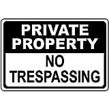 EvelynDavid Metal Private Property No Trespassing Black Metal Sign Tin Aluminum Sign 10 X 14 Inch.