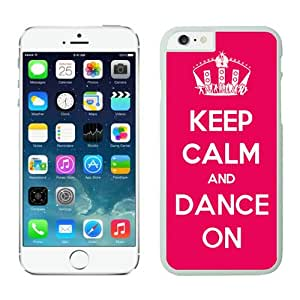 Iphone 6 Case 4.7 Inches, Slim White Hard Phone Cover Case for Apple Iphone 6 Keep Calm And Dance Red Background
