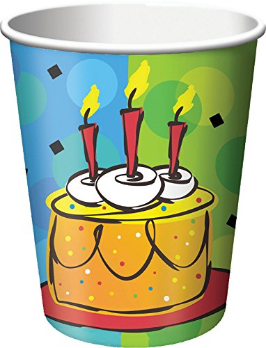 Creative Converting 8 Count Cake Celebration Hot/Cold Cups, 9 oz, Multicolor