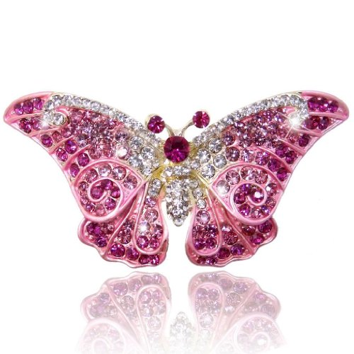 EVER FAITH Women's Austrian Crystal Cute Butterfly Insect Brooch Pink Gold-Tone