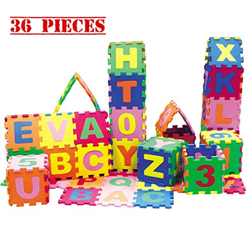 Baby Foam Play Mat (36-Piece Set) 5x5 Inches Interlocking Alphabet and Numbers Floor Puzzle Colorful EVA Tiles Girls, Boys Soft, Reusable, Easy to Clean by Dimple (Foam Floor Puzzle Mat Alphabet)