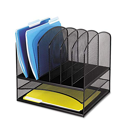 - Safco Products Onyx Mesh 2 Tray/6 Sorter Desktop Organizer 3255BL, Black Powder Coat Finish, Durable Steel Mesh Construction, Space-saving Functionality