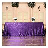 3E Home Sequin Tablecloth Cover for Dinner Wedding Birthday Party Reception Table Decor - Purple, 60x102