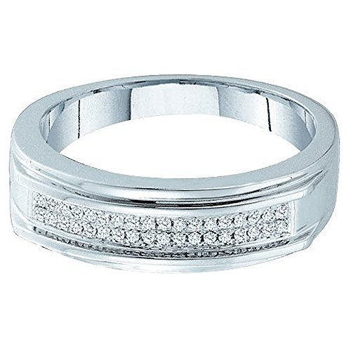 0.12 Carat (ctw) 10k White Gold Round Diamond Men's Hip Hop Micro Pave Band Anniversary Ring by DazzlingRock Collection