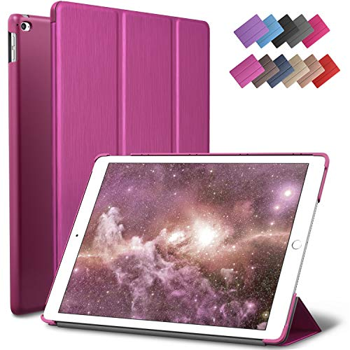 ROARTZ iPad Mini 4 case, Metallic Magenta Slim Fit Smart Rubber Coated Folio Case Hard Cover Light-Weight Auto Wake/Sleep for Apple iPad Mini 4th Generation Model A1538/A1550 Retina Display