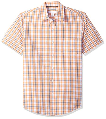 Amazon Essentials Men's Slim-Fit Short-Sleeve Plaid Casual Poplin Shirt, Coral/White, Small ()