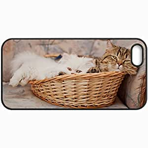 Customized Cellphone Case Back Cover For iPhone 5 5S, Protective Hardshell Case Personalized Cats Kitten Persian Basket Cats Black
