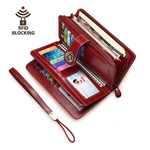 Usbagtech Womens Vintage Wallet Genuine Leather RFID Blocking Long Trifold Clutch Large Capacity Purse (Red)