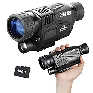 ESSLNB Night Vision Monocular 5X40 Night Vision Infrared Monocular with 1.5″ TFT LCD Take Photos and Videos Playback Function 16G TF Card Digital Night Vision Scopes for Hunting Security Surveilla