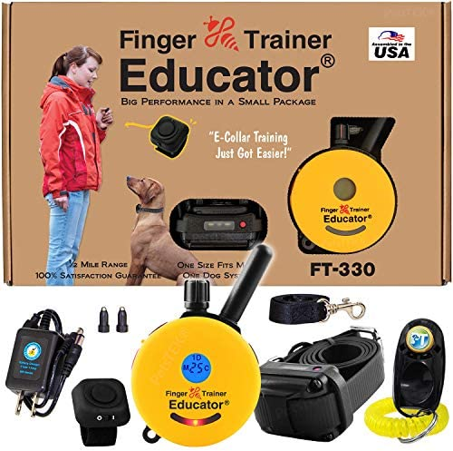 Educator E-Collar – FT-330 – Waterproof Remote Finger Trainer Micro 1 2 Mile Range – Static, Vibration and Sound Stimulation Collar with PetsTEK Dog Training Clicker