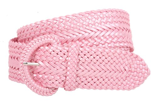 Metallic Braided Woven Belt - 2 Inch Wide Hand Made Soft Metallic Woven Braided Round Belt, Pink | m/l-34