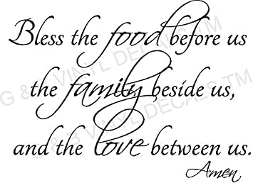 BLESS THE FOOD FAMILY LOVE KITCHEN VINYL WALL DECAL LETTERS DECOR BY G U0026 B  VINYL