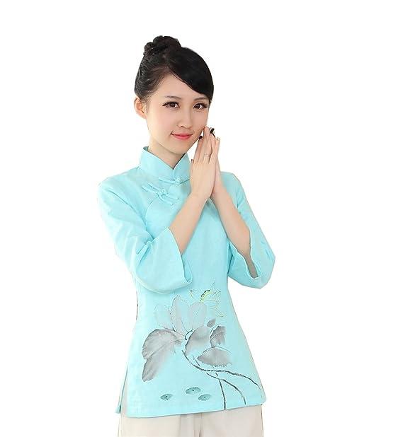YueLian Mujeres Elehante Manga 3/4 Patrón de Loto Ropa China Saco Blusa de Lino