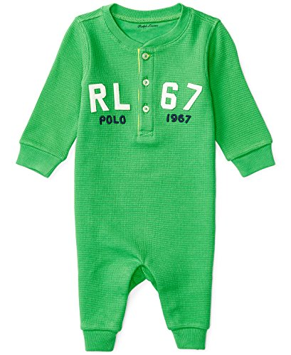 Ralph Lauren Baby Boys Henley Waffle Knit Cotton Coverall (6 Months, Neon Green)
