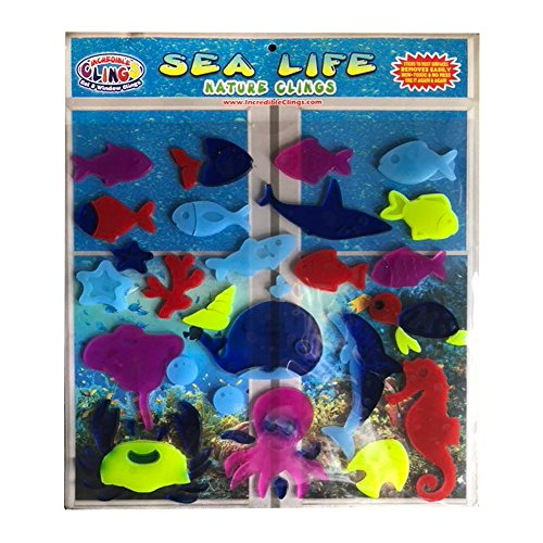 Sea and Ocean Life Thick Window Jelly Gel Clings – Reusable and Removable Ocean Fish and Marine Life Window Clings for Kids and Adults – Stingray, Starfish, Sea Horse, Dolphin and More Gel Decals by Incredible Clings