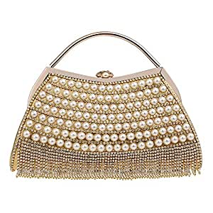 Handbag - Women's Luxury Rhinestone Tassel Evening Bag, Suitable for Weddings, Parties, Dating, Shopping, Perfect Gift (Color : Gold)