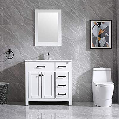 """Walsport Bathroom Vanity Sink Combo, 36"""" White Modern Wood Cabinet Basin Vessel Sink Set with Mirror, Chrome Faucet, P-Trap - Big Basin Sink - Ceramic sink is easy cleaning, broad enough for washing face, cloth. Hole on the sink is to avoid water overflow. Storage Vanity - Two tiers inside the doors, three side drawers, this cabinet offer enough space to store daily wash supplies. Modern Design - White elegant color fit perfectly for any bathroom decor, unique cabinet door design attract real attention. - bathroom-vanities, bathroom-fixtures-hardware, bathroom - 51u%2BtGfmWDL. SS400  -"""
