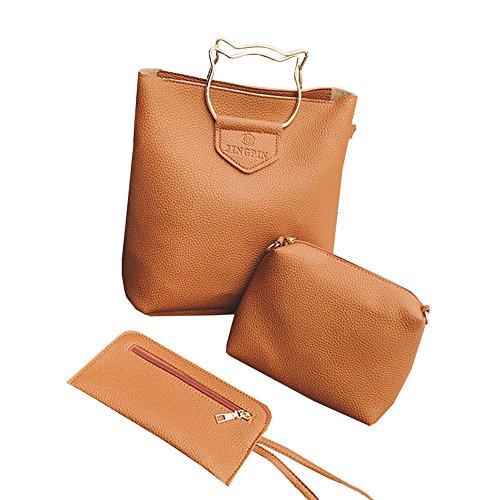 Cat Handbag amp;A Bags 3Pcs Womens Soft M PU Handle Leather Brown Light Shoulder Set dXvqxfwB