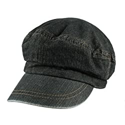 Morehats Men's Women's Unisex 100% Cotton Jean Slouchy Newsboy Cap Gatsby Hat - Dark Jean