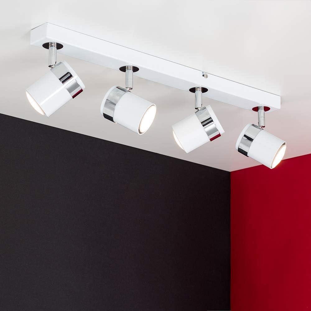 MiniSun - Plafoniera moderna e dritta con 4 faretti e finitura nera cromata - sistema di illuminazione su binario White