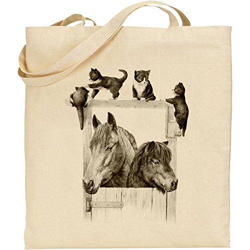 Mike Sibley, pony e gattini in cotone naturale borsa