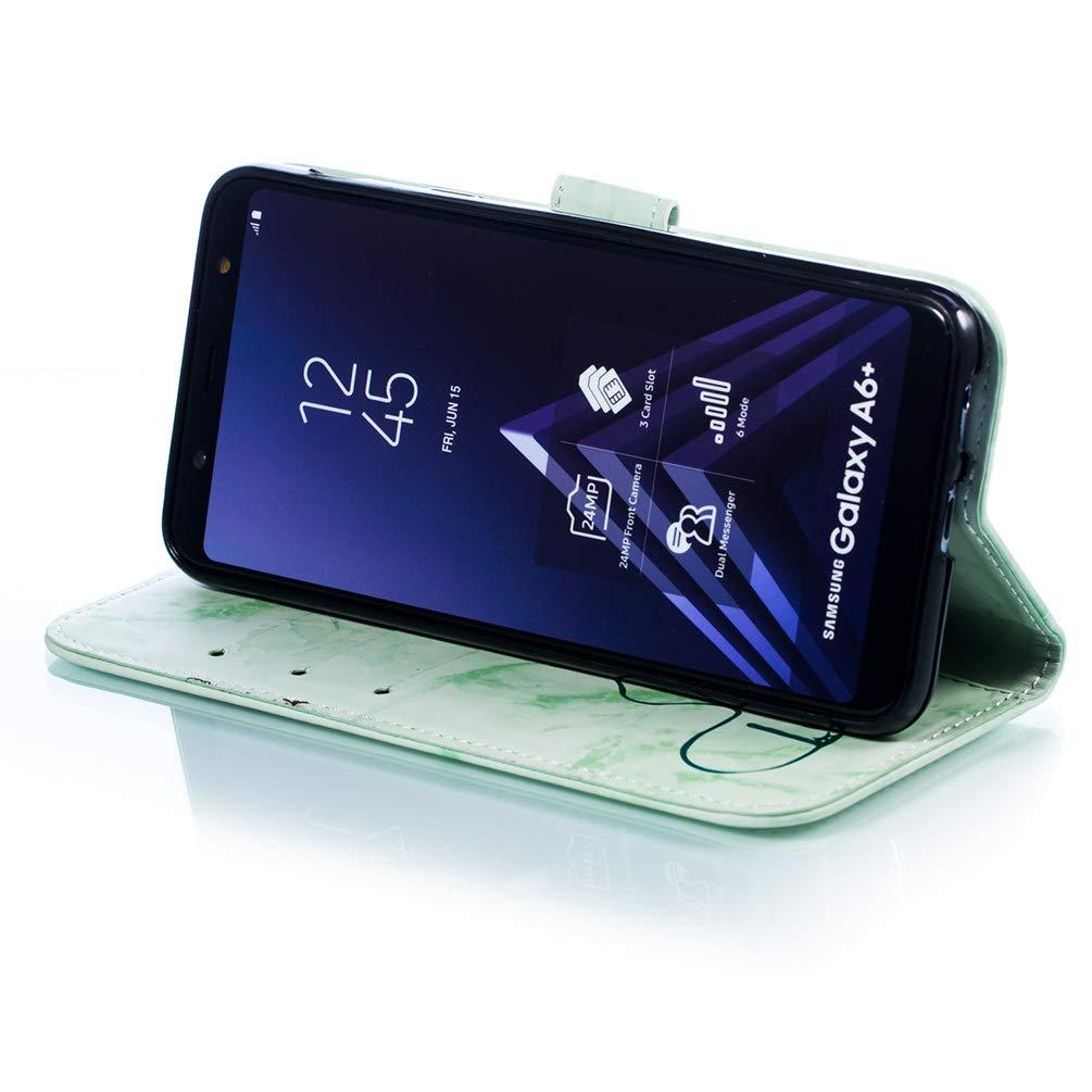 Coque Samsung Galaxy A6 Plus 2018 Housse Portefeuille Beaulife Marble Portefeuille Flip Coque en Cuir PU Antichoc Fonction de Support Coque de Protection Etui Coque pour Galaxy A6 Plus 2018 Vert