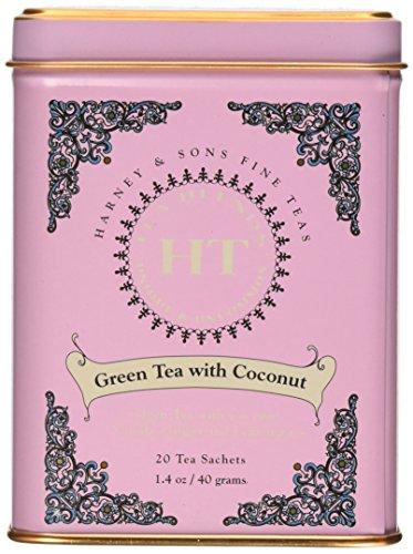 Harney and Sons Fine Teas, Green Tea coconut, 20 tea sachets 1.4 oz/ 40 grams