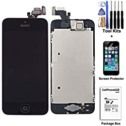 CELLPHONEAGE For iPhone 5 New LCD Touch Screen Replacement with Home Button and Camera Full Set Digitizer Display Assembly Replacement Black with Free Tool Kits + Screen Protector