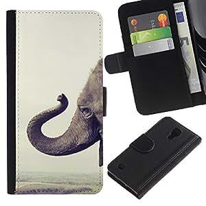 A-type (Elephant Africa Happy Animal Nature) Colorida Impresión Funda Cuero Monedero Caja Bolsa Cubierta Caja Piel Card Slots Para Samsung Galaxy S4 IV I9500
