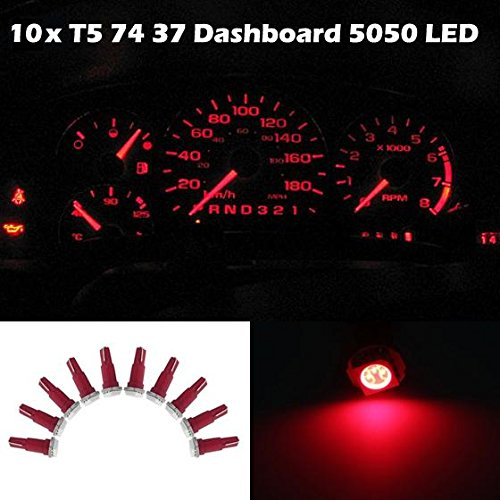 Partsam 10x Red T5 1 SMD 5050 Dashboard Wedge Car LED Light Bulb Lamp 37 73 74 79 For 1993-1997 Honda Civic del Sol (2012 Mitsubishi Galant Dash Kit compare prices)