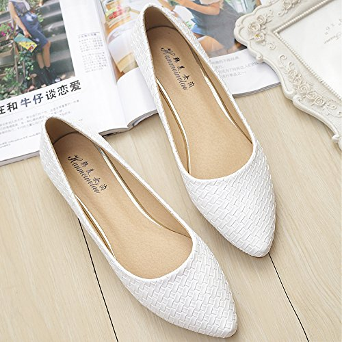 &qq Zapatos planos con punta, planos con zapatos de botas, zapatos de moda de gran tamaño 37