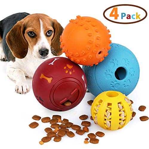 PrimePets 4Pack IQ Treat Ball, Fun Interactive Food Dispensing Dog Toys, Dog Puzzle Chew Toys, Non-Toxic Natural Rubber…