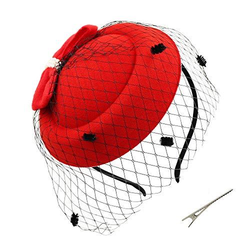 (Umeepar Bowknot Pillbox Fascinator Hat Headband for Women Kentucky Derby Tea Party Wedding Hat with Veil Hair Clip (Red))
