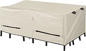 Porch Shield Patio Table Cover - Waterproof Outdoor Dining Table and Chairs Furniture Set Cover Rectangular - 108 x 70 inch, Beige