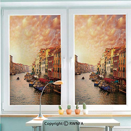 - RWNFA Window Door Sticker Glass Film,Venezia Italian Decor Landscape with Old Houses Gondollas and Spikes Image Anti UV Heat Control Privacy Kitchen Curtains for Glass,22.8 x 35.4 inch,Multicolor