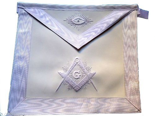 Delux 091 White Master Mason Apron Embroidered White Silky threads High Quality by Equinox