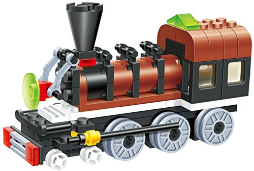 Sleek Train   Long Chassis 85 Pcs Building Blocks Steam Double Window Cabin Engine Locomotive Railway Train Set  5 Wheels For Extra Power Drive   A Dream Gift For 6  Children  Compatible Parts