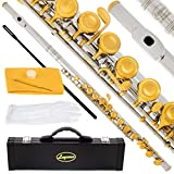 180-NK-N - Silver NICKEL/LACQUER Keys Closed C Flute Lazarro+Pro Case,Care Kit - 22 COLORS Available ! CLICK on LISTING to SEE All Colors