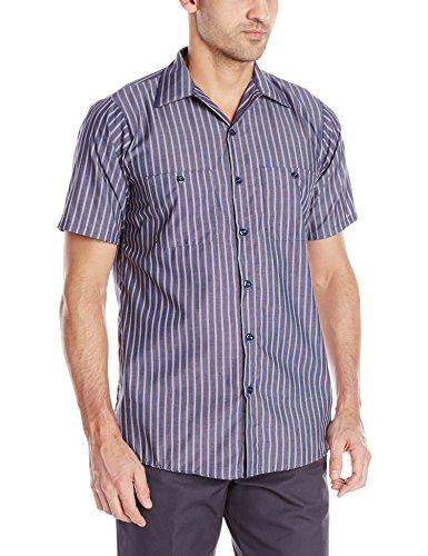 Striped Mens Khakis - Red Kap Men's Striped Industrial Work Shirt with Pencil Stall, Regular Fit, Short Sleeve, Navy/Khaki, 2X-Large