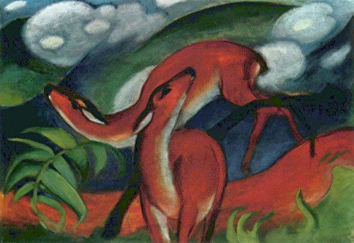 (The Museum Outlet - Red Deer II by Franz Marc - A3 Poster )