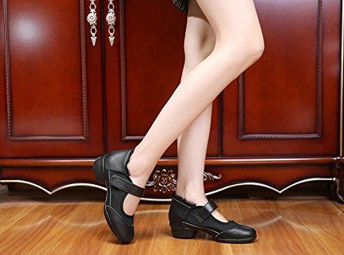 baile baile deporte de con cuero redondeada Zapatos Zapatos Segundo de mujer Zapatillas punta de con caminar cómodos modernos Zapatos para para Zapatos velcro Zapatos de Zapatos respirables cuadrado latinos Cq0S1SOw