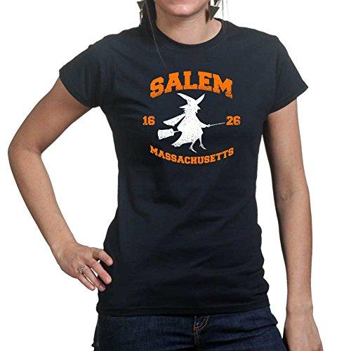 Womens Salem Witch College Halloween Costume Ladies T Shirt X-Large Black (Salem Costume)