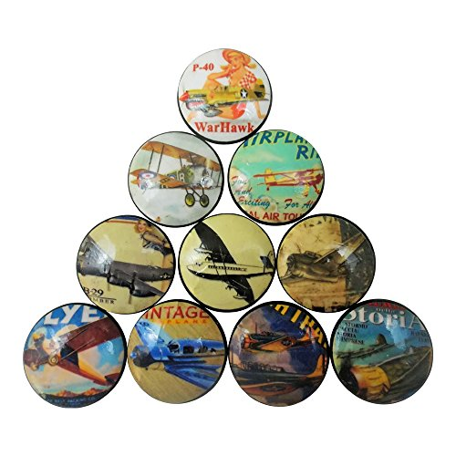 (Set of 10 Vintage Style Airplane Wood Cabinet Knobs)