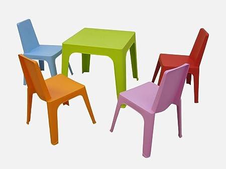 resol Julieta set infantil para interior, exterior, jardín - 1 Mesa Lima + 4 Sillas Roja/Rosa/Azul/Naranja: Amazon.es: Hogar