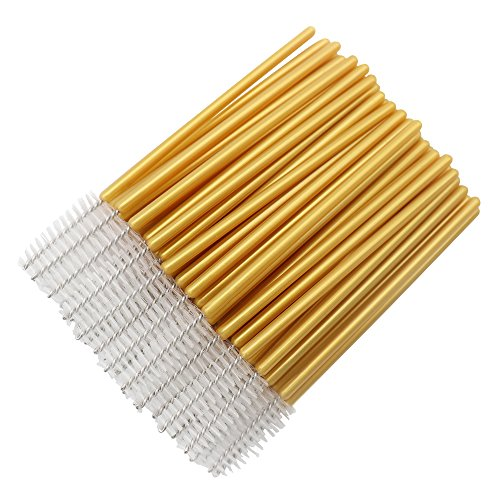 300 Pcs Disposable Mascara Wands Brushes Eyelash Extensions Eye Lash Wand Makeup Applicators Tool, Gold/White