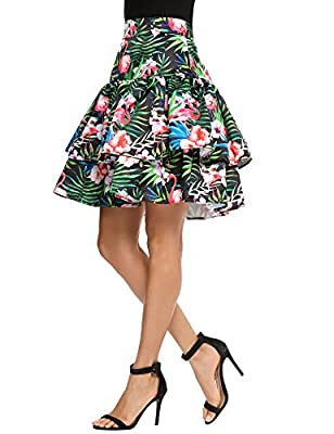 Zeagoo Women's High Waist Floral A-line Pleated Flared Midi Skirt