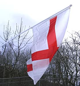 St George cross England flag with Flag pole and wall bracket