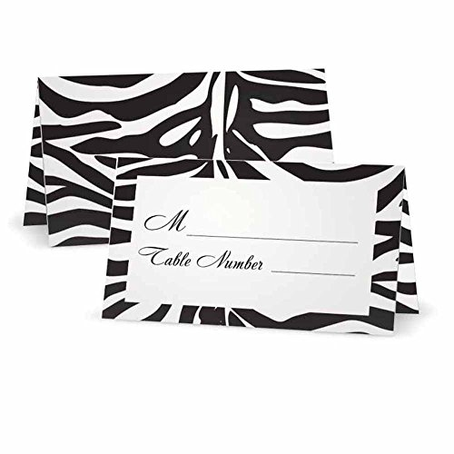 (Zebra Animal Print Place Cards with Table Number - Tent Style - 10 Pack - White Front with Border - Placement Table Name Seating Stationery Party Supplies for Any Occasion or Event)